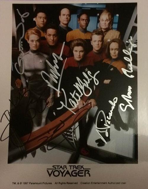 Star Trek Voyager Autographed Cast Photo